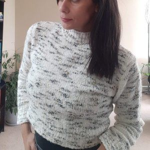 Crop Knit Sweater | Soft Cream Turtleneck, Vintage